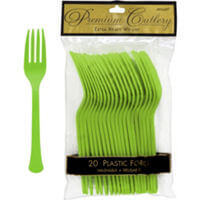 Premium Plastic Lime Green Forks-20ct-0