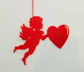 """Acrylic Cupid Red Hanging 10""""-0"""