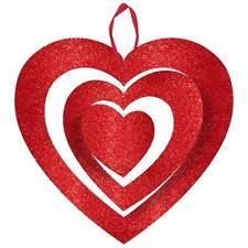 """Glitter 3D Heart Hanging Décor Red Décor 12""""-0"""