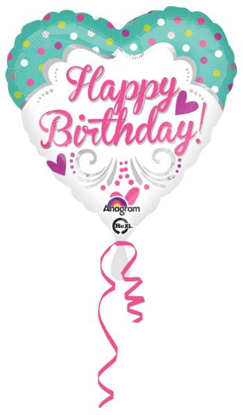 "Happy Birthday Polka Hearts 18"" S40-0"