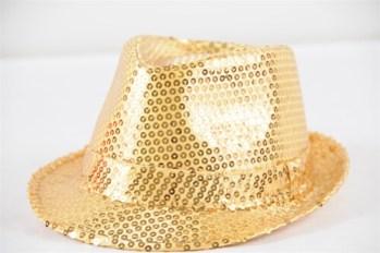 Sequin Fedora Hat Golden-0