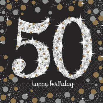 Sparkling Celebration 50th Birthday Lunch Napkins - 16PC-0