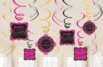 Fabulous Birthday Swril Decoration - 12PC-0