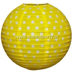"Polka Dot Lanterns 14"" - Yellow-0"