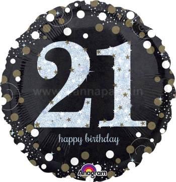 """21st Birthday Balloon 18"""" S55-0"""