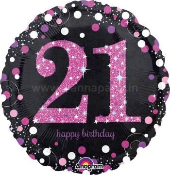 "21st Pink Birthday Balloons 18"" S55-0"