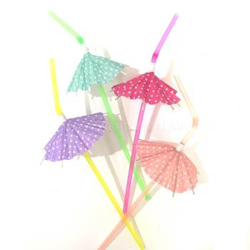 Neon Straws w/Umbrellas - 8PC-0