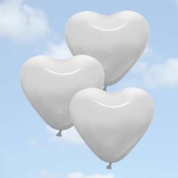 White Heart Shaped Balloons - 25PC-0
