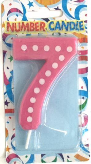 "Polka Dot 7 Candle Pink 4""-0"
