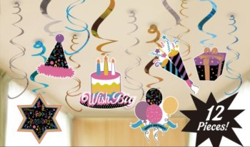 Colorful Fun Birthday Swirl Decoration - 12PC-0