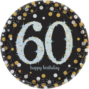"60th Birthday Sparkling Paper Plates 9"" - 8PC-0"