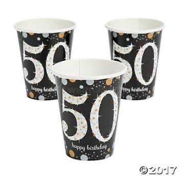 50th Birthday Paper Cup 9OZ - 8PC-0