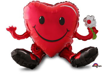 """Sitting Smiling Heart Guy Balloon 20"""" A75-0"""