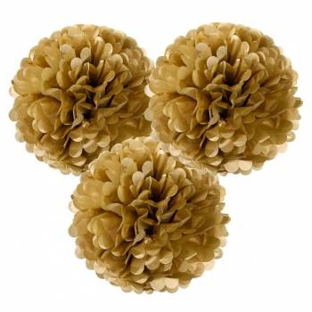 "Golden Fluffy Decoration - 14"" - 3 PC-0"