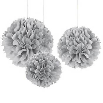 "Silver Fluffy Decoration - 14"" - 3PC-0"