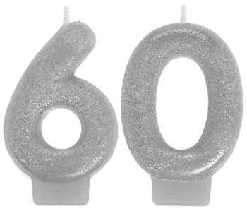 60th Birthday Glitter Candle-0