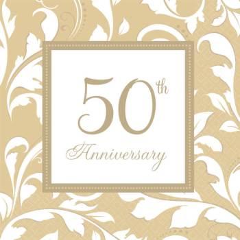 Elegant 50th Anniversary Paper Napkins - 16PC-0