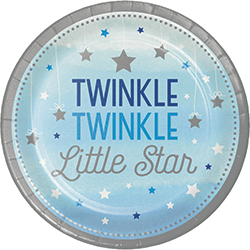 "Twinkle Twinkle Little Star Boy Paper Plates 9"" - 8PC-0"