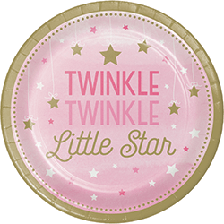 "Twinkle Twinkle Little Star Girl Dessert Plates 7"" - 8PC-0"