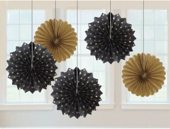 Metallic Polka Dot Black & Gold Paper Fan Decorations - 5PC-0