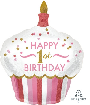 "1st Birthday Cupcake Girl Balloons 36"" P40-0"