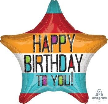 "Bold Type Birthday Star Balloon 18"" S40-0"