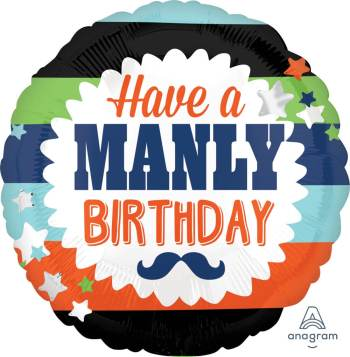 """Have A Manly Birthday Balloons 18"""" S40-1PC-0"""
