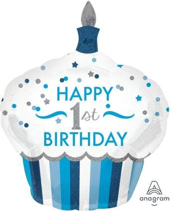 "1st Birthday Cupcake Boy Balloons 36"" P40-0"