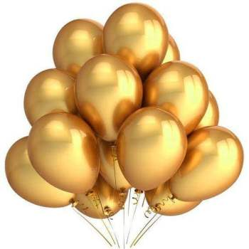 "11"" Chrome Golden Latex Balloons - 10PC-0"