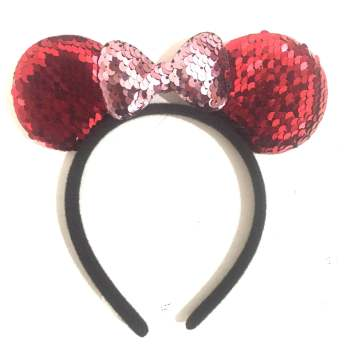 Minnie Mouse Sequin Headband Red & Pink-0