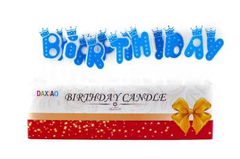 Happy Birthday Candle Blue - 5PC-0