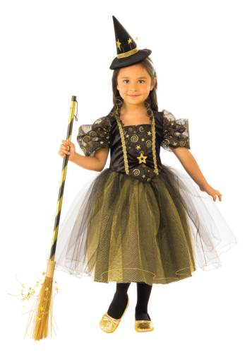 Kids Golden Star Witch Costume Medium-0