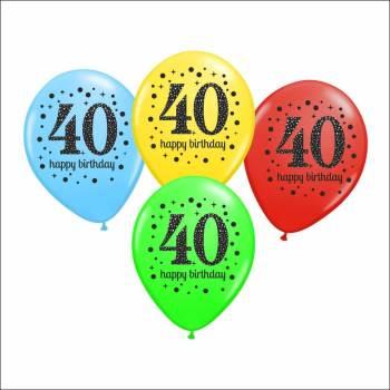 40th Birthday Printed Balloons - 15PC-0