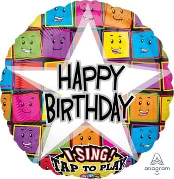 "Happy Birthday Faces Singing Balloon 28"" P60-0"