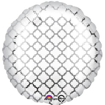 "Silver & White Quaterfoil Balloons 18"" S30-0"