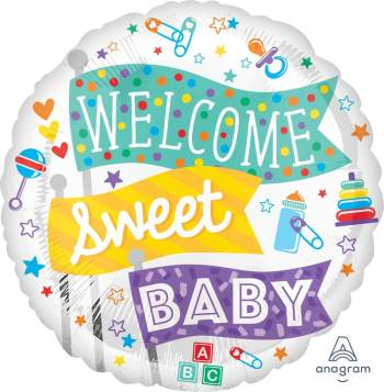 "Welcome Sweet Baby Balloons 18"" S40-0"
