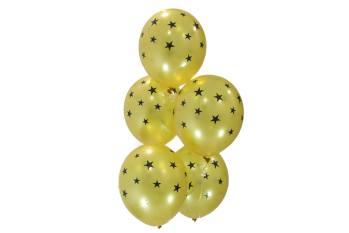 "Black & Gold Star Balloons 12"" 10CT-0"