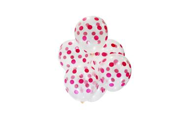 "Transparent Pink Polka Dot Balloon 11"" 10CT-0"