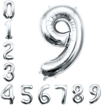 "16"" Numerical 9 Silver Balloon"