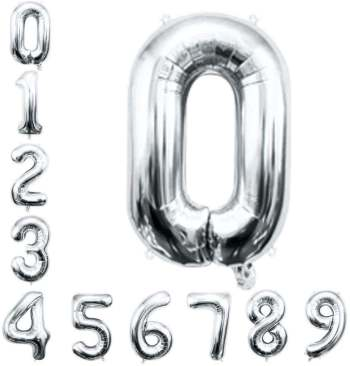 "16"" Numerical 0 Silver Balloon"