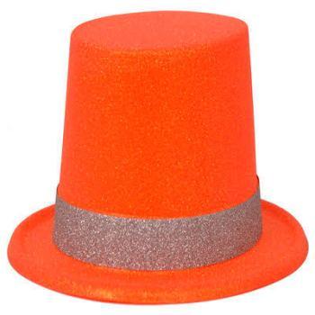 Neon Orange Glitter Hat_702531