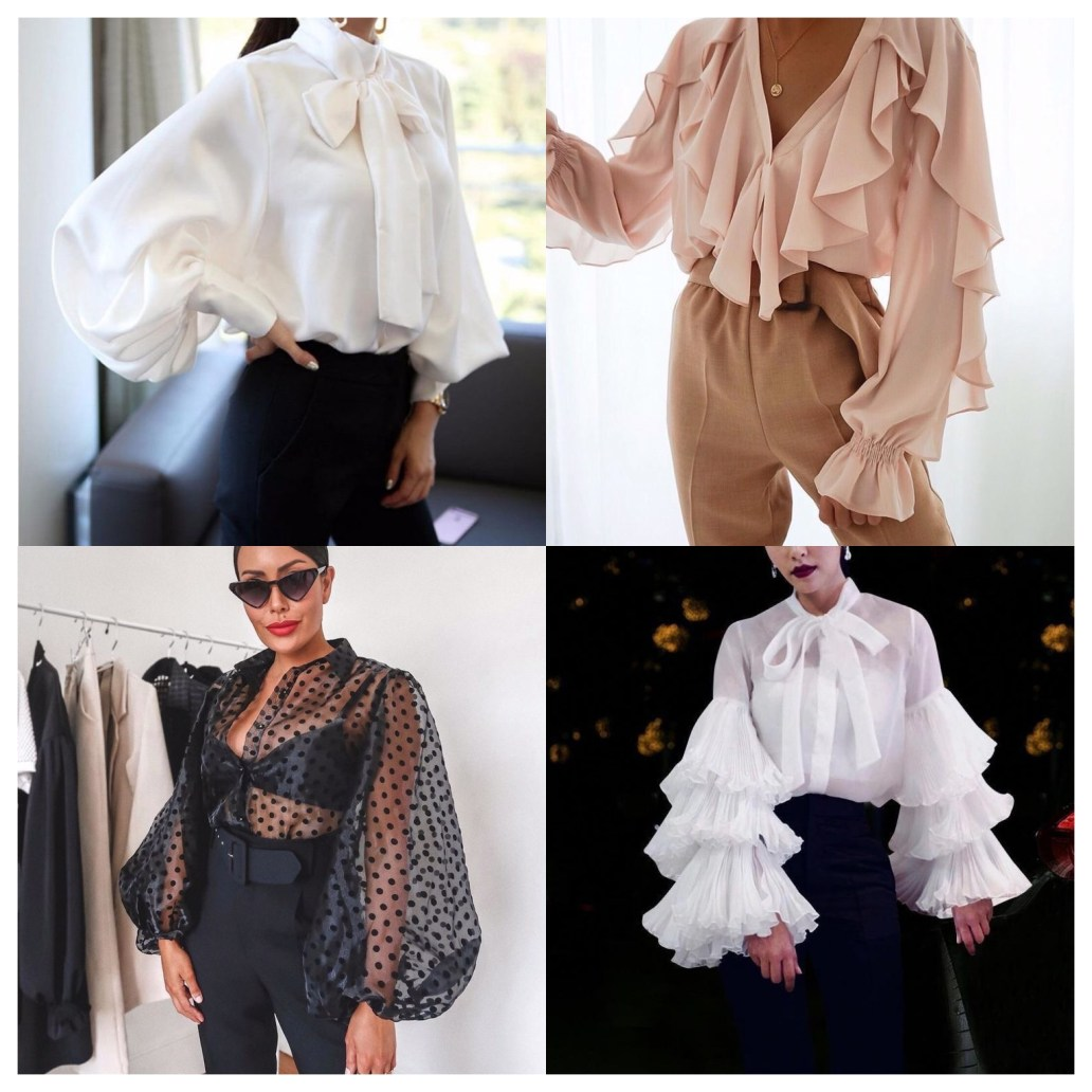 Bishop sleeves, ruffle sleeves, exaggerated sleeves