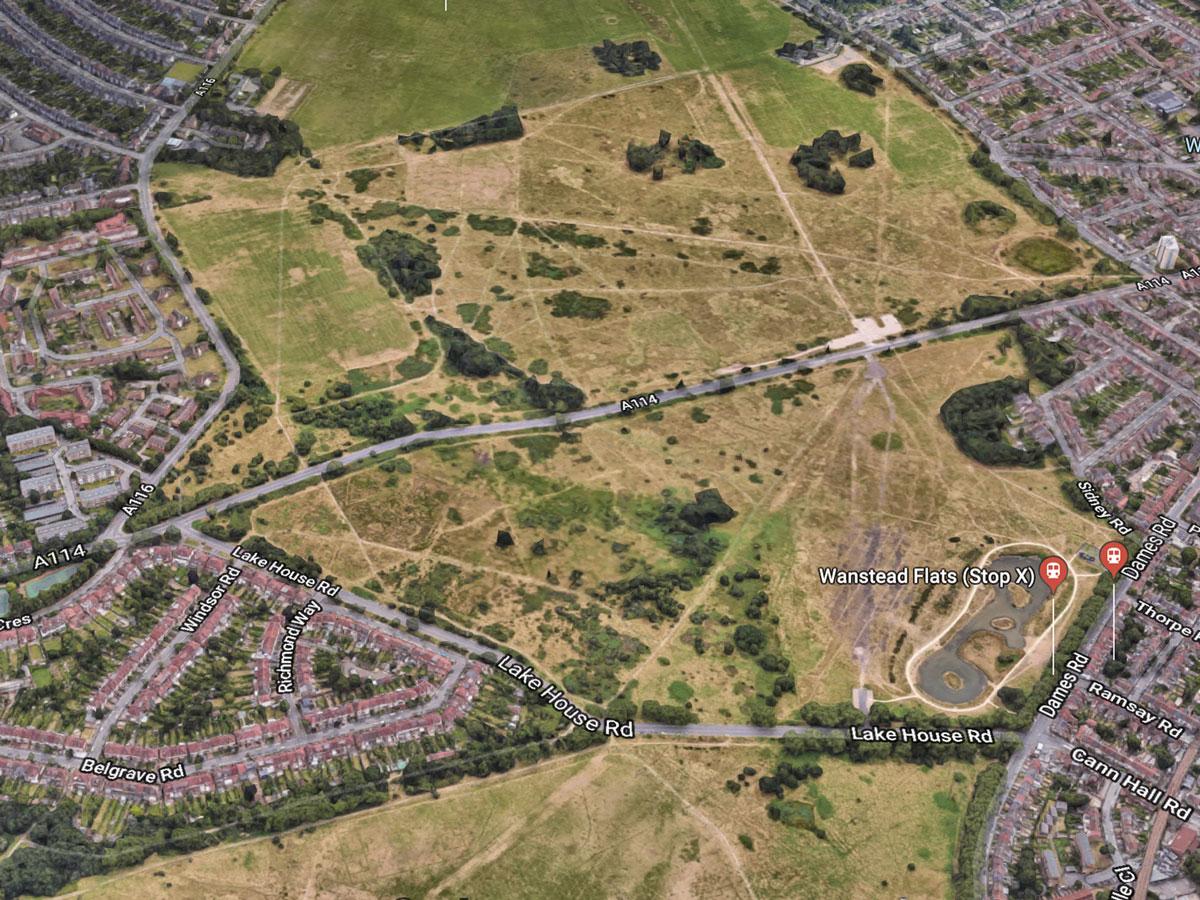 Aeriel photo shows Wanstead Flats danger