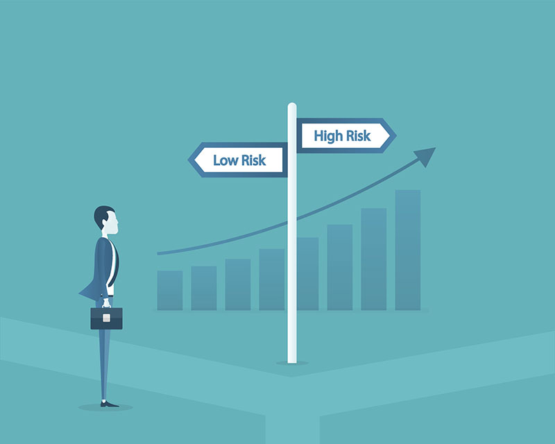 flat vector business man choose the way between low risk and high risk concept and business finance investment concept.