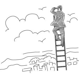 Business Man Climbing Ladder Drawing