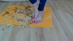 Crystal Crushes Hard Biscuits under her Bare Feet