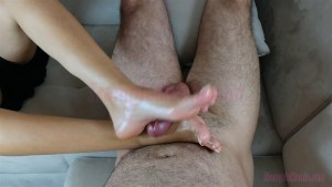 Crystal Gives Footjob with her High Arches