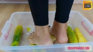 Crystal's Barefoot Cucumber Crushing Fetish Clip
