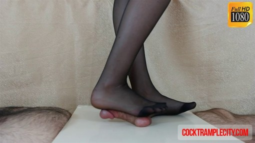 Cock and Balls Crush in Black Stocking