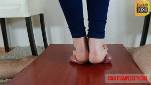 Crystal's Fast Footjob with Some Balls Pressure